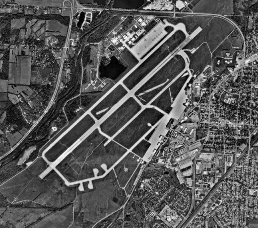 An areal view of the Write Patterson Air Force Base, which is where Project Blue Book was based.
