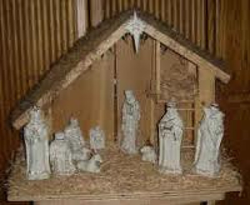 A miniature Nativity scene depicting the Lord. Many people display miniature Nativity scenes inside their homes to show their love and respect for Jesus on his birthday.