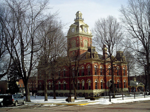 LaGrange county courthouse - Note the hitching rail in the lower right to accommodate the large Amish community