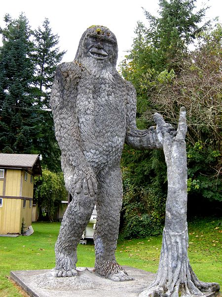 A Bigfoot statue in Silverlake, Washington.