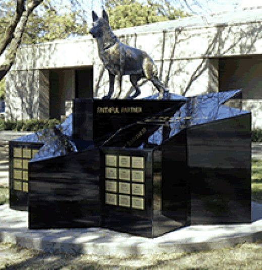 "The California Police Dog Memorial is seen on the campus of the University of California-Davis School of Veterinary Medicine: ""Faithful Partner""."