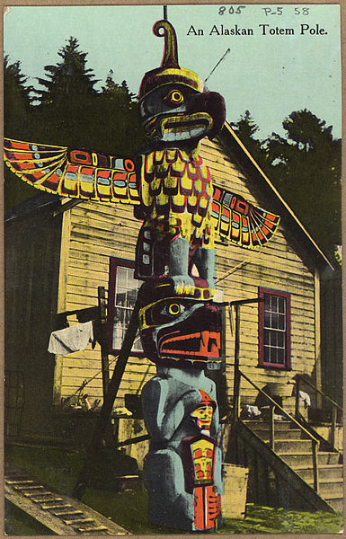 Alaskan totem pole before 1936. NARA's Pacific Alaska Region (Anchorage).