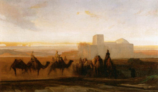 The Caravan, Alexandre-Gabriel Decamps (c. 1854) -  Unwary travelers on the Silk Road and Oregon trail who didn't bring enough water with them perished before they reached their destination.