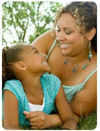 Single mom with happy kid
