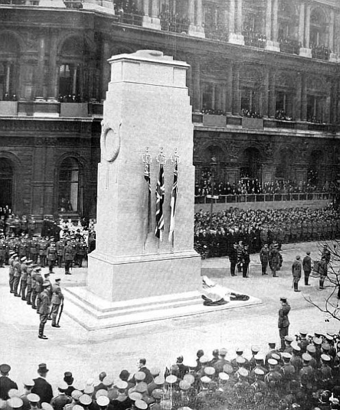 1920 Unveiling of the Whitehall Cenotaph in London, a national memorial to those who died in the Great War.
