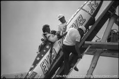 The fearless dare devil gets prepared to launch in a rocket. Knievel never shied away from danger in fact he embraced it.