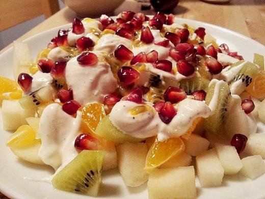 Fruit salad and fresh yogurt - A wonderful combination