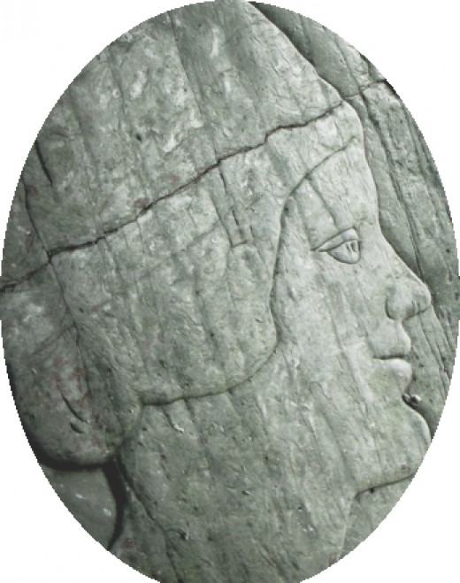 Crantock Beach Cave Carving of a woman