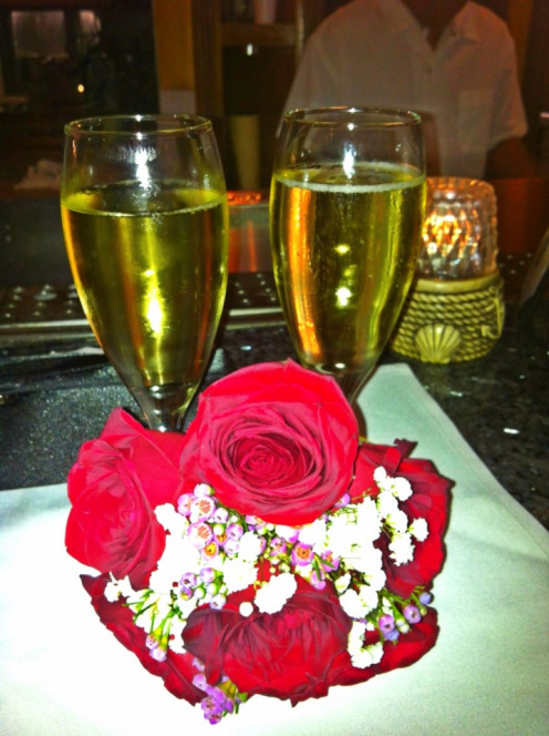 Flowers and Champage