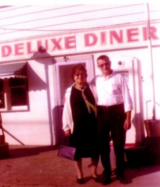 My Grandma and Grandpa Bates standing in front of 'The Diner'