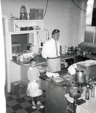 My dad and I in the Diner's kitchen 1961.  Note the fashionable polka dots and saddle shoes.