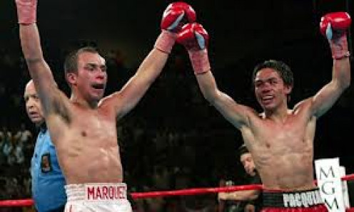 Juan Manuel Marquez and Manny Pacquiao fought to a 12 round draw in their first encounter.