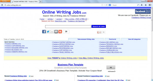 Online-Writing-Jobs.com provides an updated list of work from home opportunities for freelance writers.