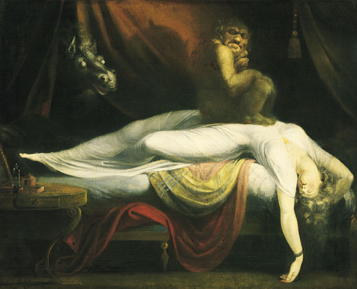 "Fusseli's ""The Nightmare"" depicting what seems to be a creature paralyzing a woman in her sleep."