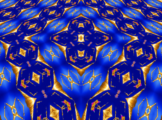 Abstract symmetry produced from a Buddhist pagoda with depth perspective added
