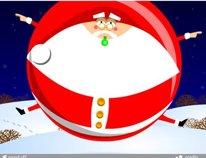 Santa blows a balloon and gets blown back whizzing round