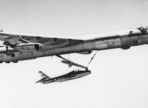 B-36 and YF-84F testing the FICON (Fighter Conveyance) concept, intended to allow escort fighters to be carried by the Peacemaker on a trapeze, releasing them as needed and recovering them in midair
