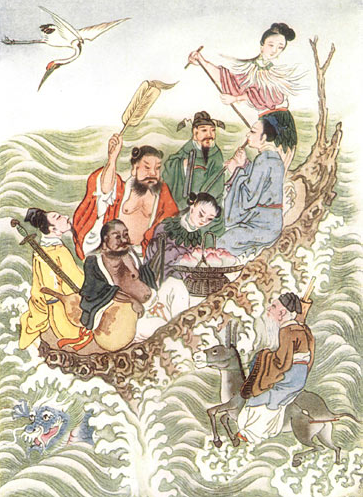 "The eight immortals crossing the sea. Depictions of these ""hseins"" cropped in different locations in China during the 12th and 13th century."