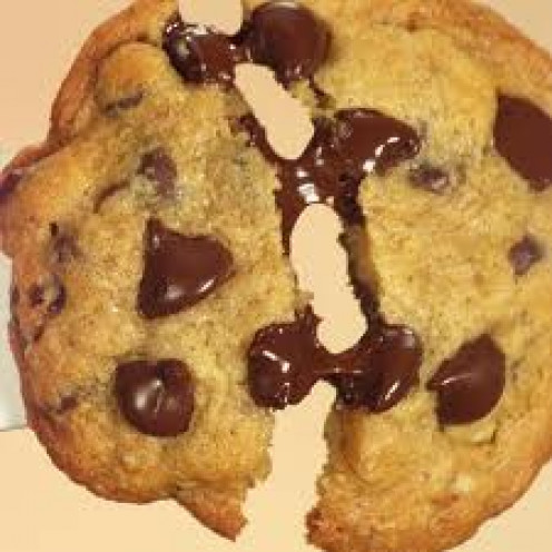 When chocolate chip cookies first come out of the oven the chocolate is melting as you tear the cookie apart.