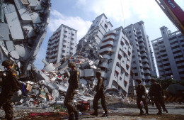 Severe earthquakes cause liquefaction of most soils and this results in tilting of buildings that may otherwise stay reasonably intact.