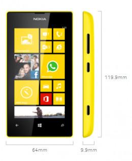 The Nokia Lumia 520 Dimensions