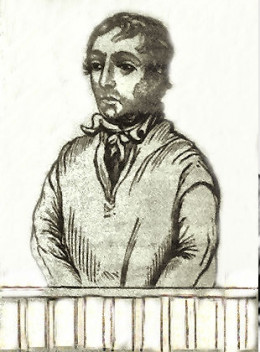 James Lightfoot, hanged for murder.  Image published in the local newspapers in 1840.