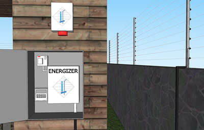 Energizer and Bare wire fence structure