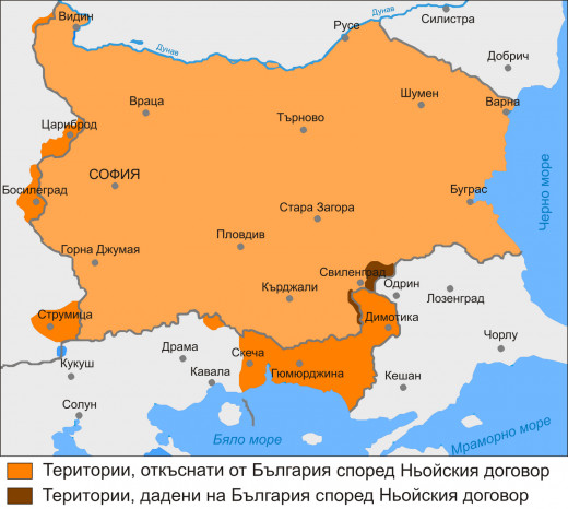 Map of Bulgaria after Treaty of Neuilly had been enforced. Dark orange represents land stripped and red, land gained.