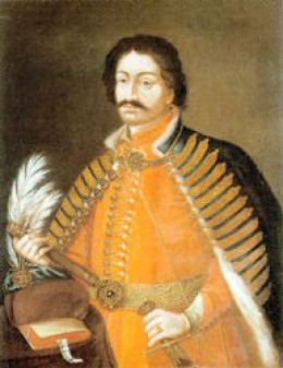 This painting of Baron Bálint Balassi de Kékkő et Gyarmat (1554 - 1594) is in the public domain worldwide due to the artist having been deceased more than 100 years and its copyright having expired.