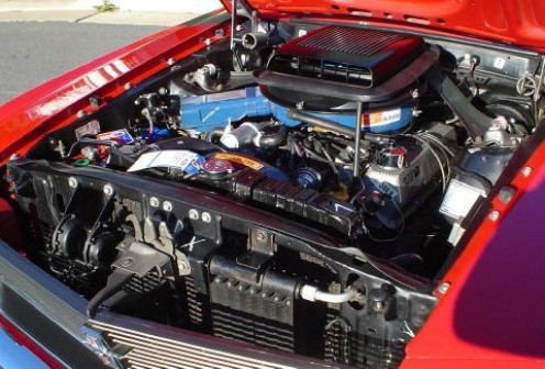 """The Boss 302 engine of the Boss 302! This particular Boss has the oil cooler featured in the Ford """"Drag Pack,"""" which was never officially offered from the factory and is extremely rare."""