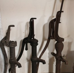 Old water well hand pumps