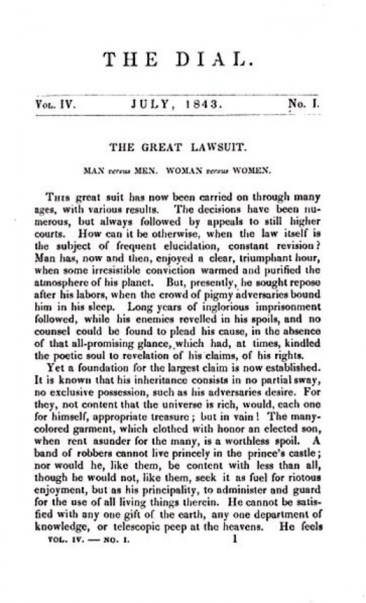 """Margaret Fuller's book began as this article written for """"The Dial"""" magazine."""