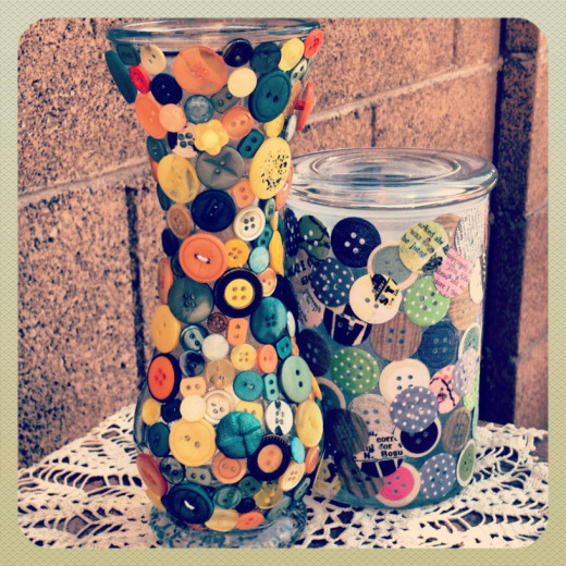 How to Make a Button Vase Decoration by Heather Says