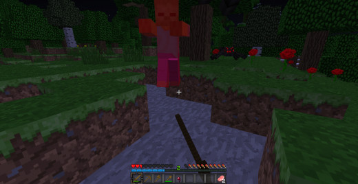 Attacking hostile mobs without good weapons.