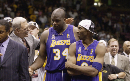 Jackson with Shaquille O'Neal and Kobe Bryant