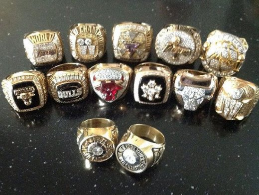 All 13 rings of Phil Jackson