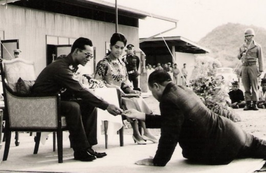 His Majesty The King and Queen of Thailand with my Grandfather in Khao Tao.