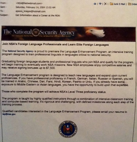 An email to me from the NSA...I told them they had the wrong sister.