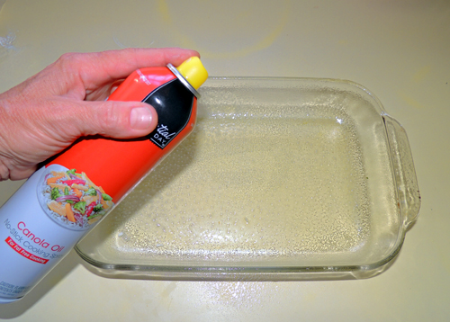 spray the bottom of your 9x13 casserole with PAM (opt)