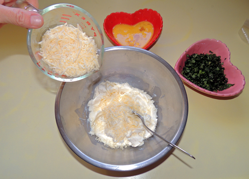 add the 4 cheese - mix after each addition