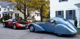 New (left) and old (right) Bugatti cars.