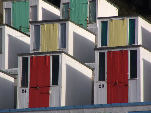 Newquay Beaches: Beach Huts on Tolcarne Beach, Newquay