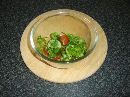 Watercress, tomato and cucumber salad