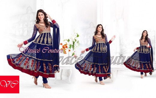 Dark blue and maroon gorgeous salwar suit