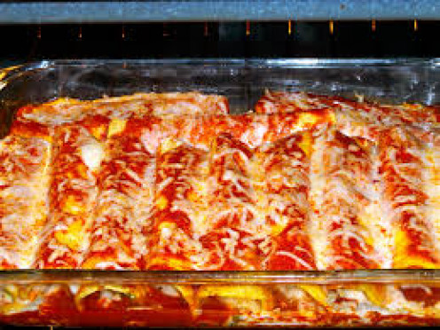 Put some sauce on your enchiladas after removing them from the oven.