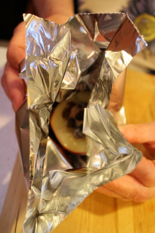 Bundling Halved Apple in Heavy Tin Foil for Grill