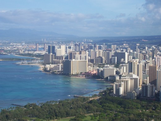 Waikiki Honolulu From Atop The Crater