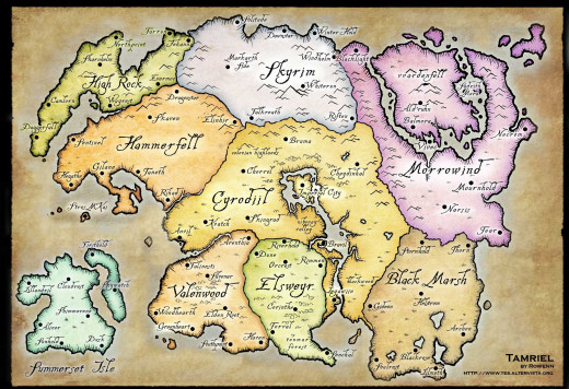 A map of the fantasy continent of Tamriel.