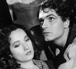 Laurence Olivier as Heathcliff in the 1939 film version of Wuthering Heights. Cathy was played by Merle Oberon