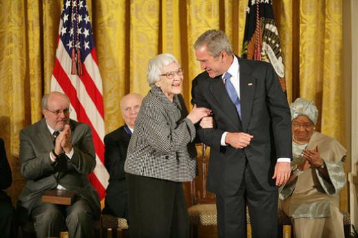 Harper Lee with President Bush in White House for  Presidential Medal of Freedom